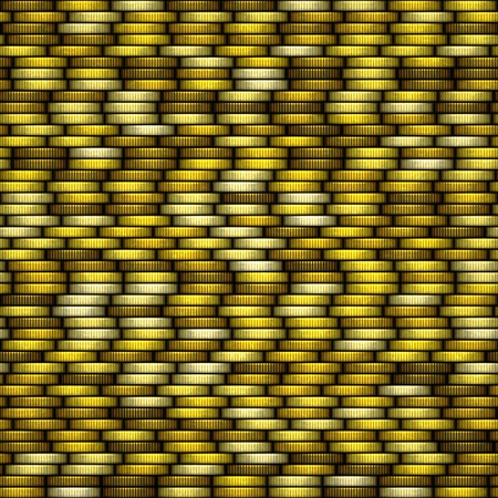 Yellow coins of seamless texture with many coins Stock Photo