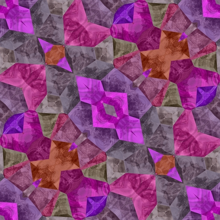 Pink and purple seamless kaleidoscope and big ornaments