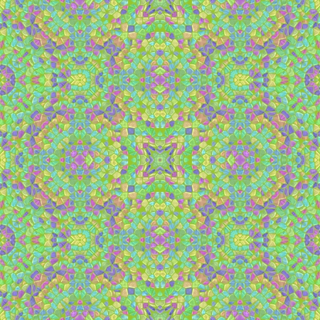 Turquoise kaleidoscope with ornaments in dark color, seamless texture