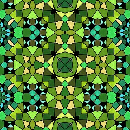 Grünes Schattenkaleidoskop, nahtlose Textur mit grünen Ornamenten