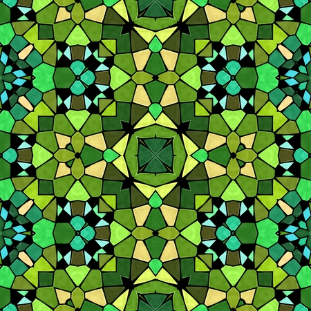 Green shadow kaleidoscope, seamless texture with green ornaments