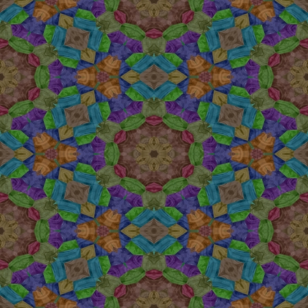 Seamless texture of kaleidoscope with dark color, brown and purple in kaleidoscope