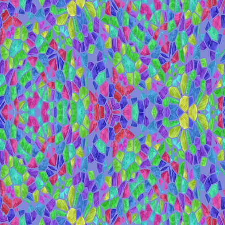 Very colorful kaleidoscope with many colors and ornaments, seamless texture with pink, blue, purple
