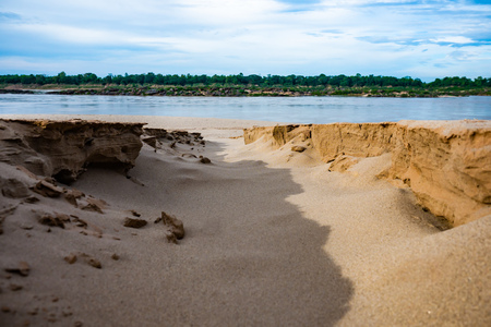 crack on the sand at mekong river, Thailand