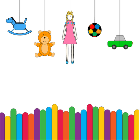vector of toys kid hanging above colorful fence, on white background