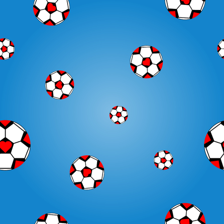 vector of seamless pattern football with red heart on blue gradient background