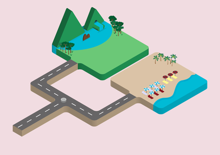 isometric vector the place for relaxing vacation destinations between mountains and sea