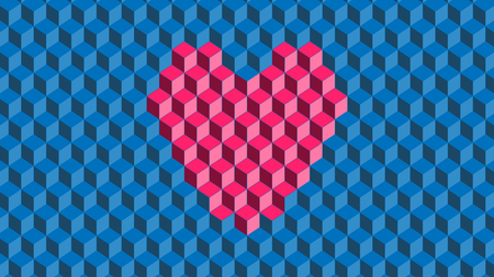 vector of pink cube with heart shape on blue background Ilustrace