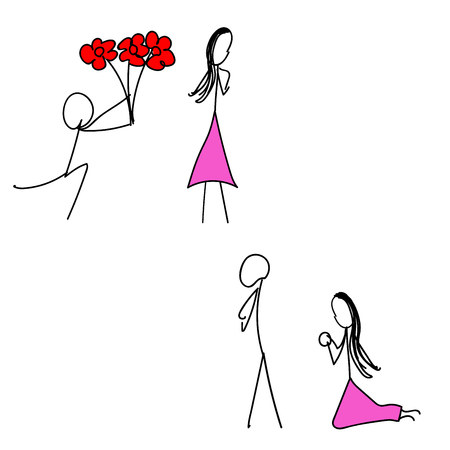 vector of simple drawing man and woman reconcile emotions