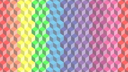 vector of pastel rainbow cube background Illustration