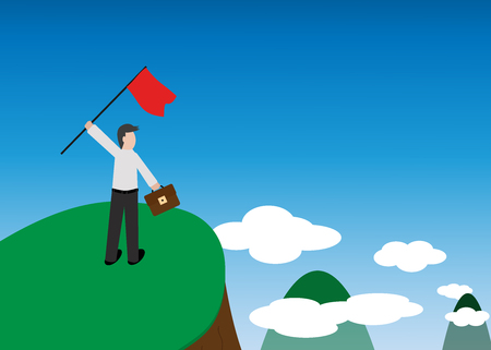 vector of business concept, the man standing on hill top, symbol of success and mission complete