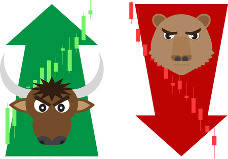 vector of business concept, green and red, bull and bear market,up and down tends