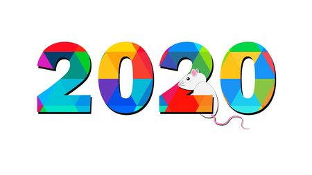 vector of new year numbers 2020 with white background, The year of the rat