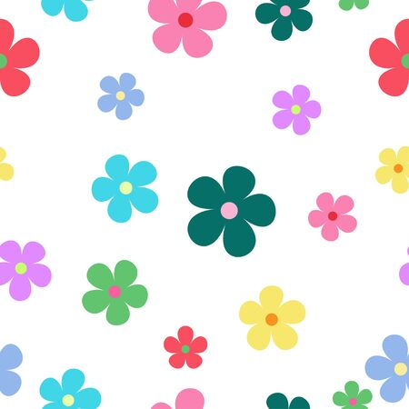 seamless vector of colorful flowers, wallpaper design Ilustrace