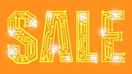 vector of sale banner, sign orange background, digital and technology style