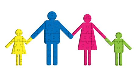 vector of parents and children standing and holding hands together, colorful jigsaw background, family love concept