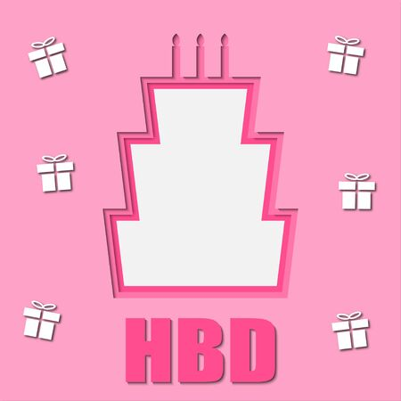 vector of birthday card with paper cut style, shades of pink color