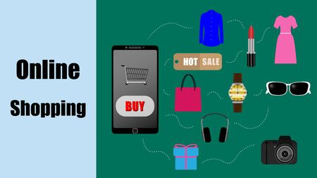 vector of online shopping concept with mobile phone, looking up product to buy with smartphone Ilustrace