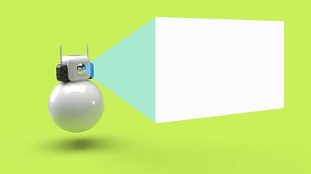 robot and white blank board, 3d render style
