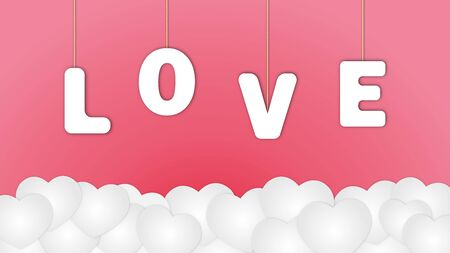 vector of love hanging above white heart clouds, on pink background, paper cut style