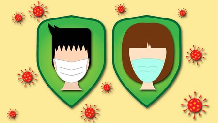 vector of symbol man and woman wear a face mask to protect themselves from virus, covid-19