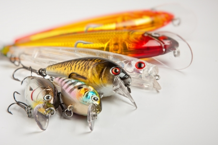 detail of colorful fishing lures Stock Photo