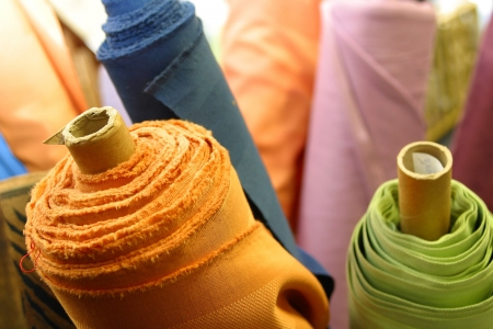linen in bright colorful yarns displayed