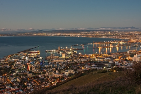 aerial view of cape town city, waterfront and harbor south africa