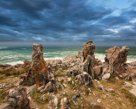 dramatic ocean view with unique rock formation and stormy clouds Stock Photo - 16685392