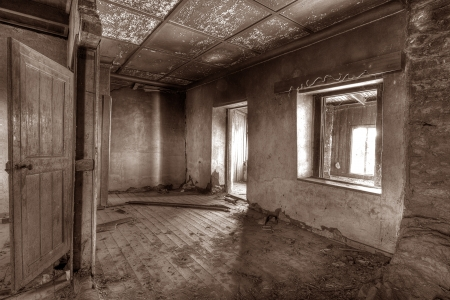 abandoned old derelict building interior Stock Photo