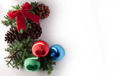christmas decorations of pine cone and balls Stock Photo