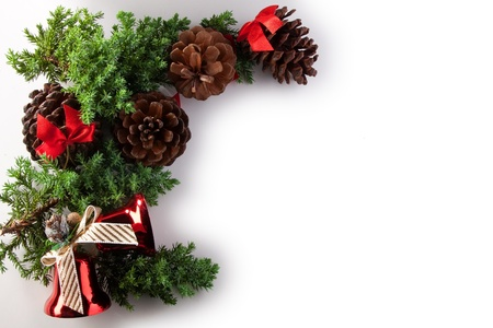christmas pine cones pine needles and decoration Stock Photo