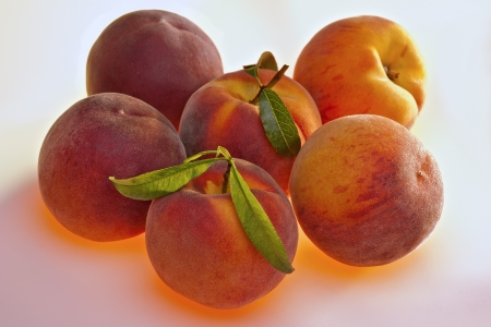 fresh peaches grouped together on a white background with golden light Stock Photo