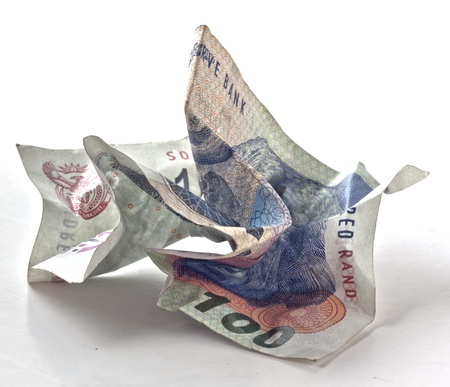crumpled money one hundred rand note