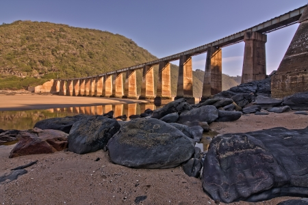 railway bridge old and textured columns