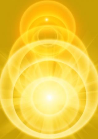 golden yellow light beams with receeding orbs of light