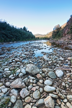 rock river creek in blue morning light with water and stones Stock Photo - 18992416