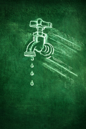 illustration of a white chalk tap on a green blackboard background