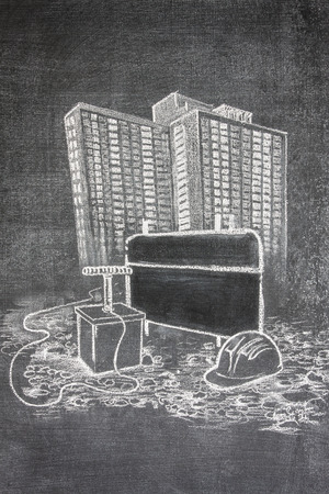 blow up: demolition team ready to blow up a high rise building, chalk illustration on a blackboard Stock Photo