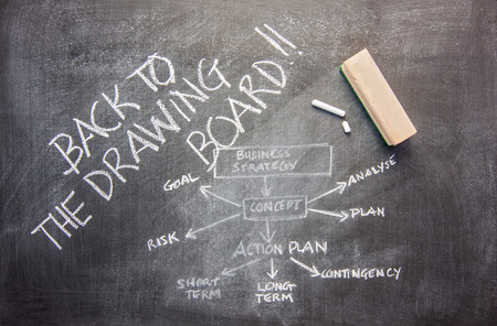 blackboard illustration of business strategy action plan rubbed out for a redo in chalk