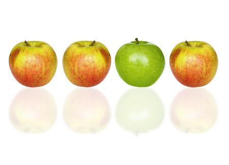four apples on a white background
