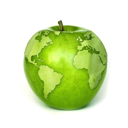 apple contours of the globe Stock Photo