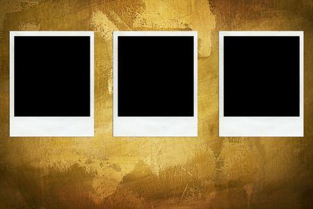 Three aged photos on the wall