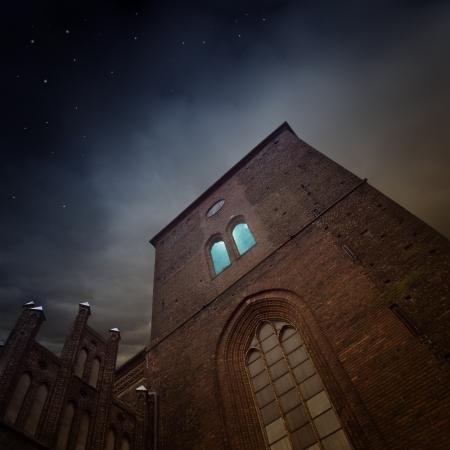 medieval church in the dark
