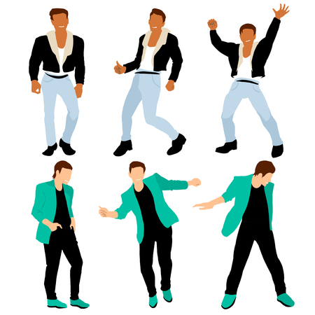 Disco dancing boys dressed like 80s dandy in different poses, isolated on white background.