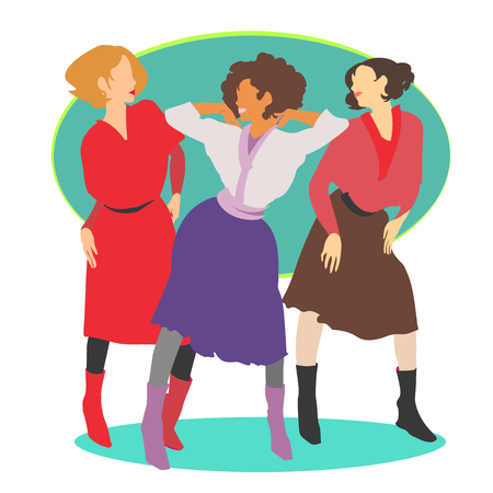 Girls trio wearing retro clothes in fashion color trends 2018.