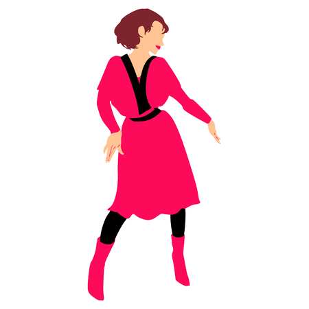 Girl in red retro dress and red boots in dancing pose