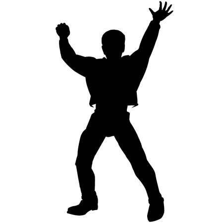 Black silhouette of disco boy hands up pose