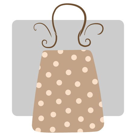 Vector funky vintage shopping bag with dots isolated on white background. Ilustração