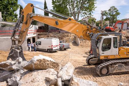 Bulldozer Machine On Construction Site